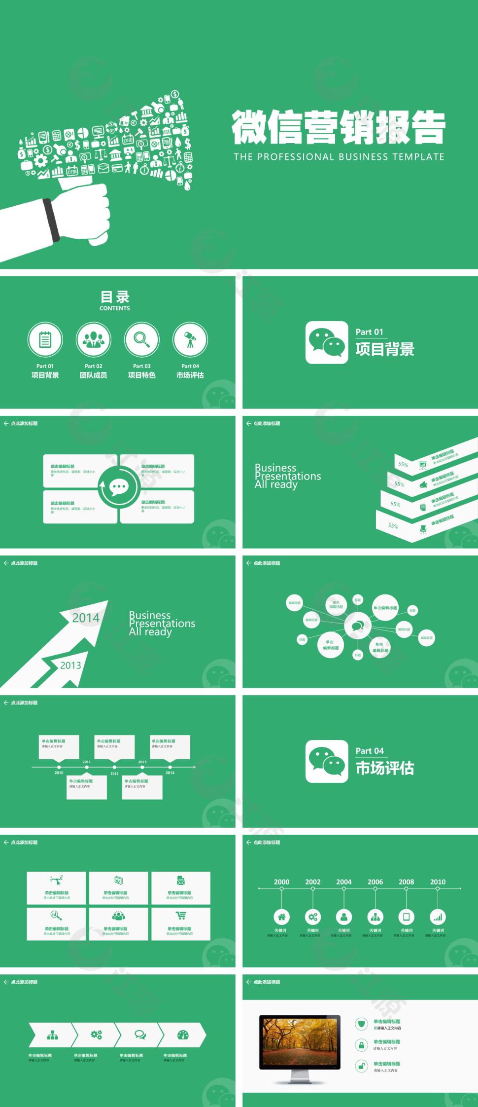 绿色扁平化营销汇报总结ppt模板