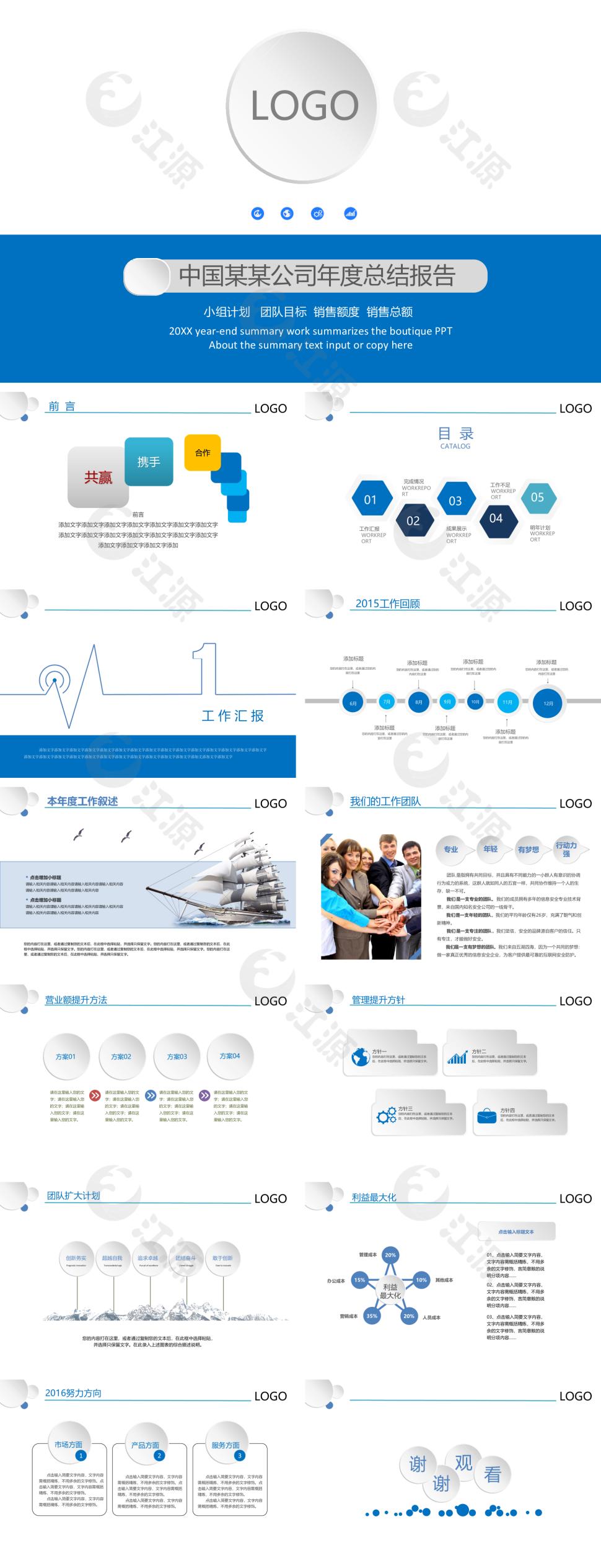 蓝色简约风年度总结报告PPT模板