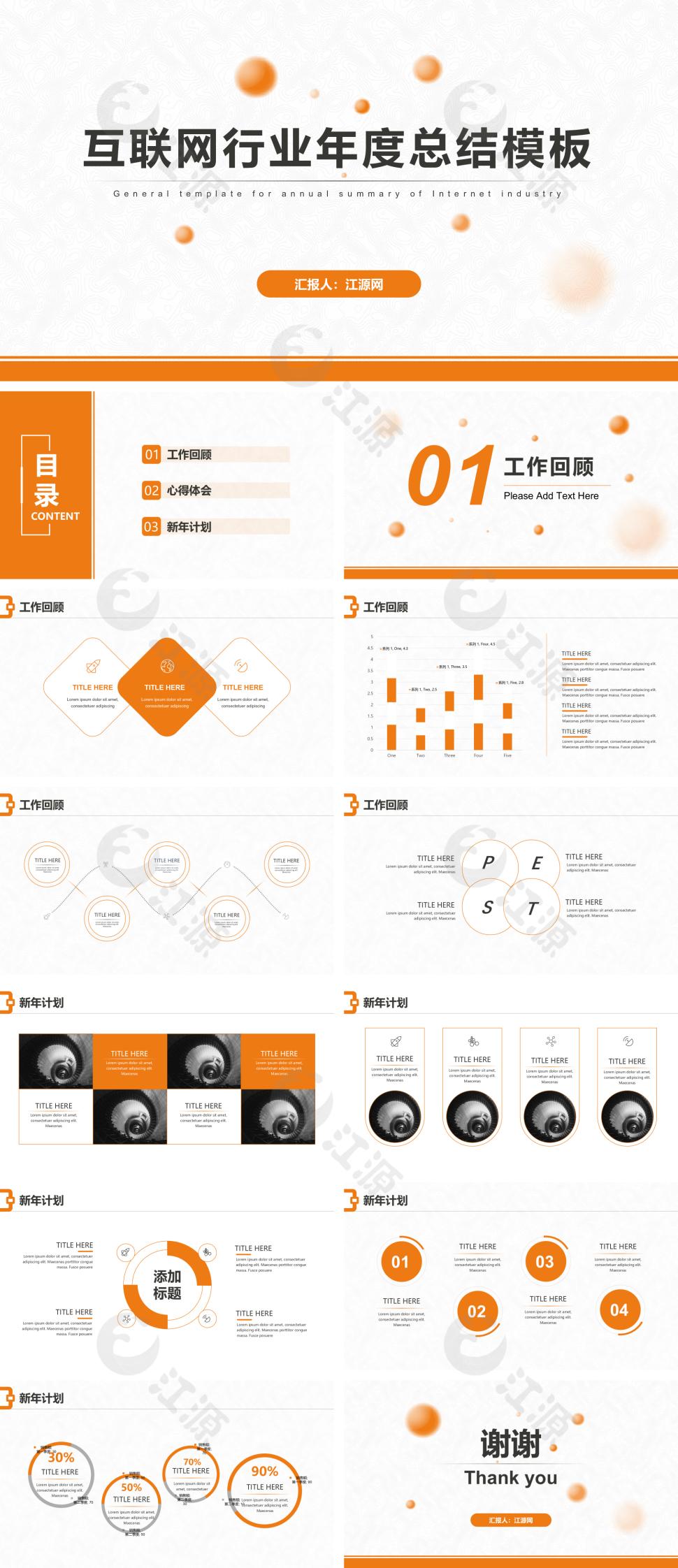 橙色简约互联网年度总结PPT模板