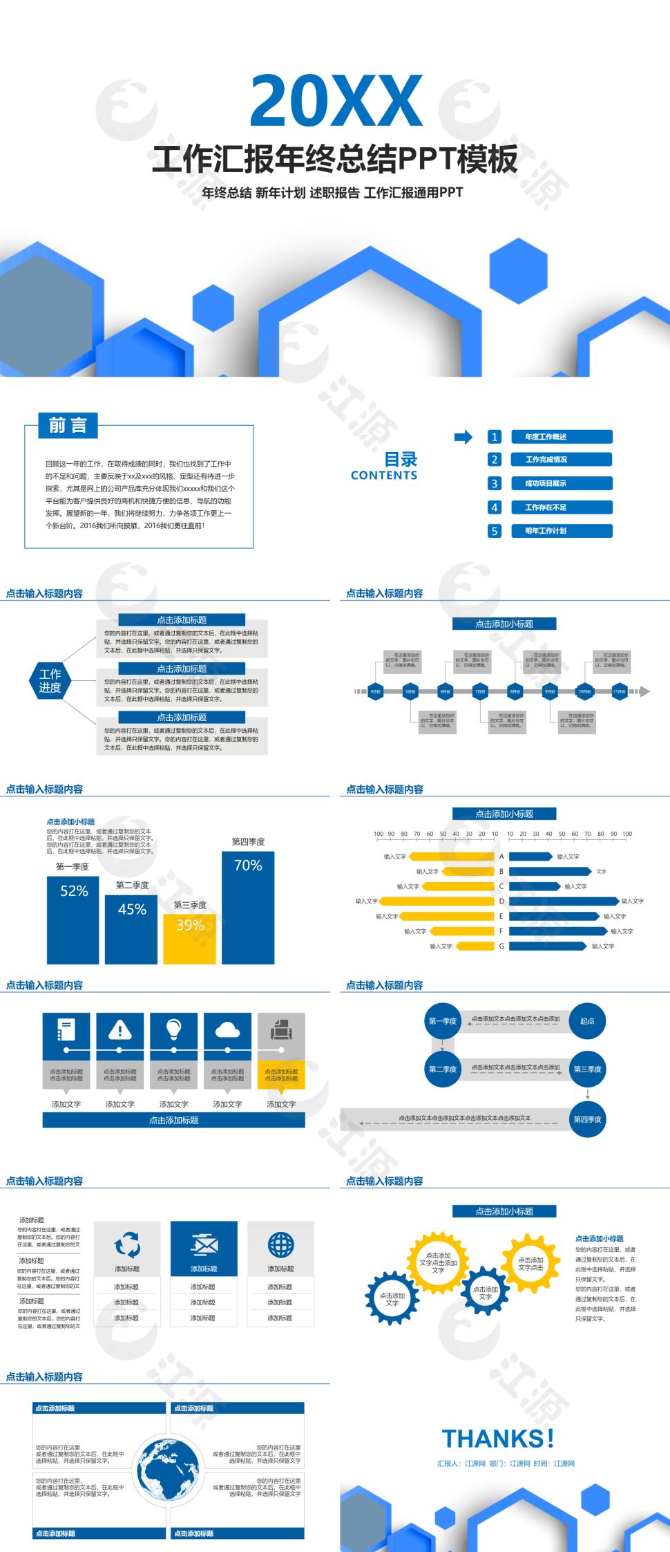 蓝色简约风金融投资工作总结总结计划ppt模板