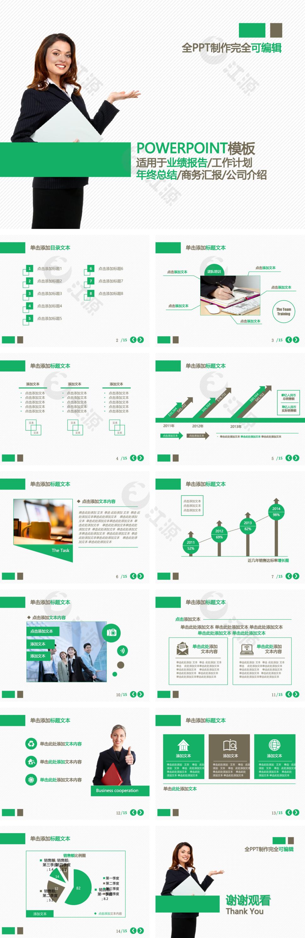 绿色简约商务总结PPT模板